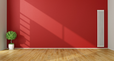 the red wall: Red Living Room with  vertical heater and plant - 3D Rendering