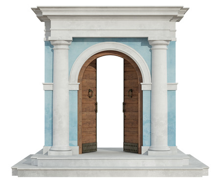 old wooden door: Front view of a classic portal in tuscany order  with open door isolated on white - 3D Rendering