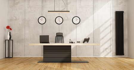 cement wall: Minimalist office with modern desk and coccrete panels on background - 3D Rendering