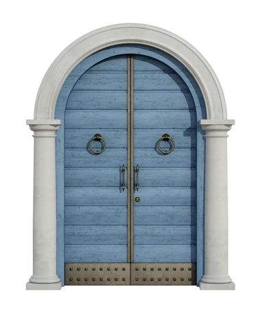 view of a wooden doorway: Old wooden front door with stone portal isolated on white -3D Rendering