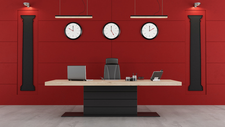 office wall: Red and black modern office with desk,chair and shape of classical columns on the wall - 3d Rendering