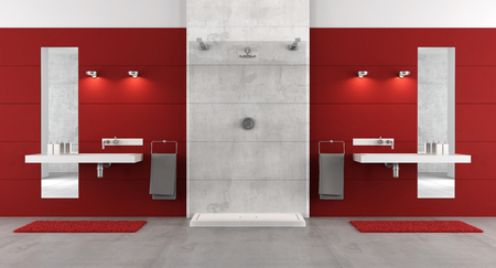 glass panel: Red bathroom with shower and washbasins - 3D Rendering Stock Photo