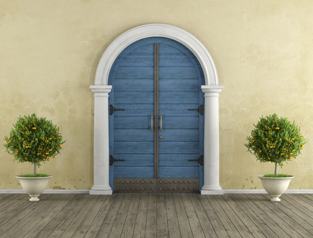 stucco: Retro Home entrance with old portal and blue wooden door - 3D Rendering