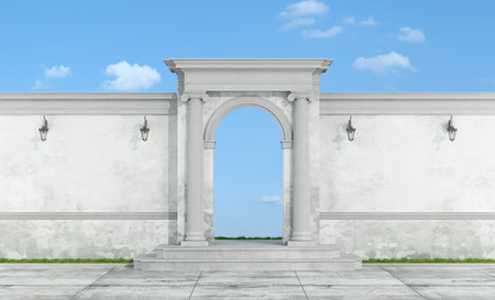 ionic: Old wall fence with stone portal in ionic order on blue sky - 3D Rendering