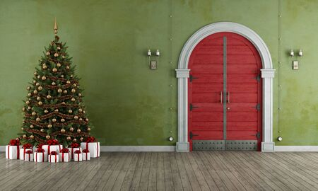 christmas decor: Vintage entrance with christmas tree,present and old red door - 3D Rendering