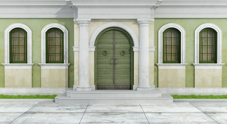 view of a wooden doorway: Classic facade with portal and windows - 3D Rendering