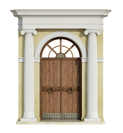 view of a wooden doorway: Front view of a classic portal in ionic order  with wooden door isolated on white - 3D Rendering Stock Photo