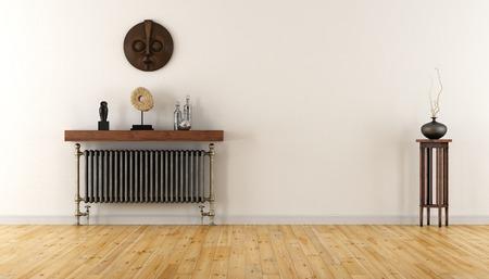 빈티지 라디에이터와 민족 장식 물체와 함께 빈 방 - 3D 렌더링 스톡 콘텐츠