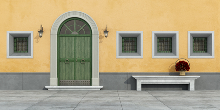 view of a wooden doorway: Old facade with green doorway,windows and stone bench - 3D Rendering Stock Photo