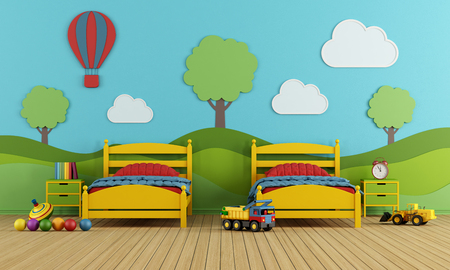 wall decoration: Colorful Childrens bedroom with two single beds and decoration on blue wall - 3D Rendering Stock Photo
