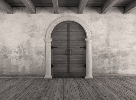 white door: black and white grunge interior with old doorway -3D Rendering