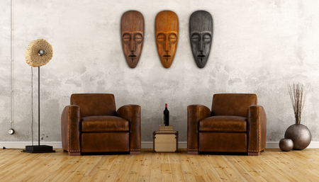 Uitstekende kamer in etnische stijl met twee lederen fauteuil en Afrikaanse maskers op de muur - 3D Rendering