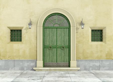 녹색 출입구와 두 개의 작은 창이 오래된 외관의 세부 사항 - 3D 렌더링