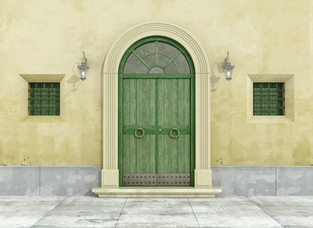 view of a wooden doorway: Detail of an old facade with green doorway and two little windows - 3D Rendering Stock Photo