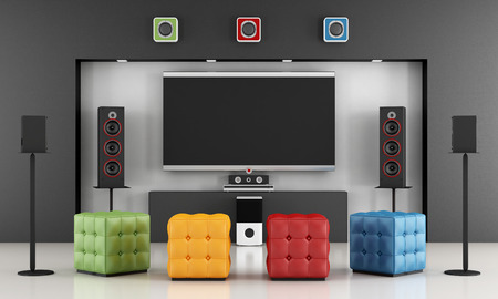 pouf: Home cinema room with colorful pouf and TV set - 3D Rendering Stock Photo
