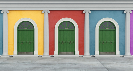 view of a wooden doorway: Colorful classic facade with green wooden doorway - Rendering