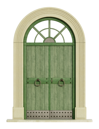 view of a wooden doorway: Old green front door with stone portal isolated om white - 3D Rendering
