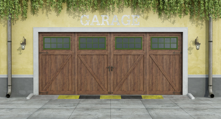 two car garage: Classic facade with classic two car wooden garage  - 3D Rendering