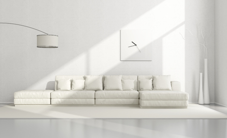 White minimalist living room with elegant sofa,floor lamp and clock - 3D Rendering