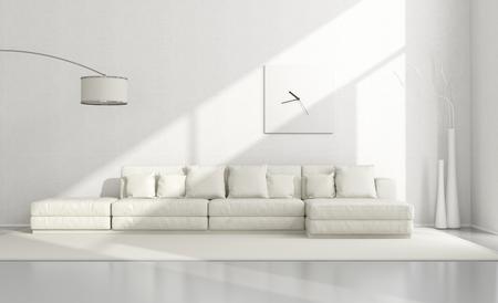 Witte minimalistische woonkamer met elegante sofa, staande lamp en klok - 3D Rendering