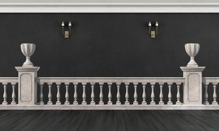 Black and white room with with white balustrade painted on the wall - 3D Rendering