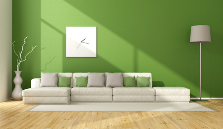 livingroom: Contemporary green living room with sofa on carpet - 3D Rendering