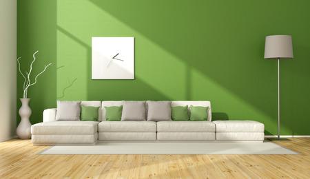 Eigentijdse groene woonkamer met een bank op tapijt - 3D Rendering Stockfoto