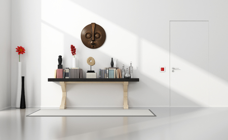 Minimalist home entance with classic consolle and closed door - 3D Rendering
