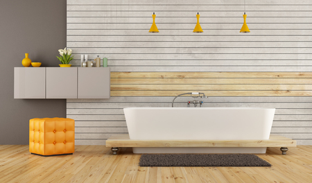 hassock: Contemporary bathroom with bathtub in front at concrete and wooden panel - 3D Rendering