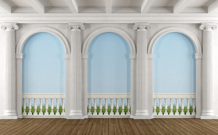 stucco: Classic room with colonnade and balustrade painted on the wall - 3D Rendering Stock Photo