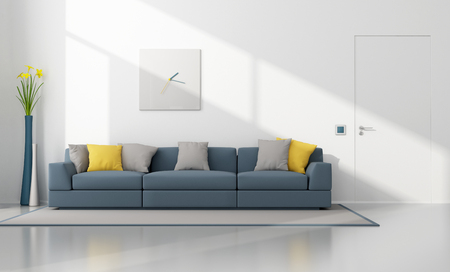 minimalist apartment: White and blue modern lounge with sofa and closed door - 3D Rendering