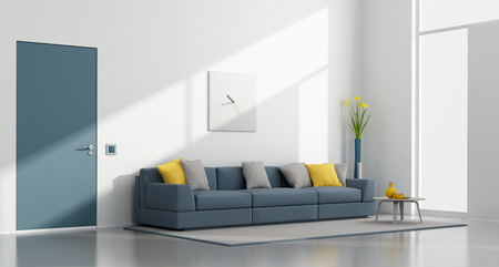 White and blue modern lounge with sofa,door and window - 3D Rendering 免版税图像