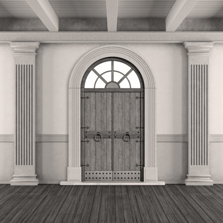 pilaster: Black and white classic home entrance with old doorway and pilaster -3D Rendering Stock Photo