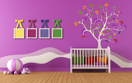 babyroom: Babyroom with crib with decoration and frame on wall - 3D Rendering Stock Photo