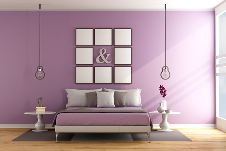 lilla: Contemporary bedroom with double bed ,nightstand and blank frame on wall - 3D Rendering Stock Photo