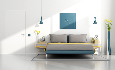 Bright contemporary bedroom with colorful double bed and white wall - 3D Rendering Stock Photo