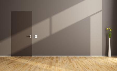 room door: Empty brown living room with closed door and hardwood floor - 3D Rendering