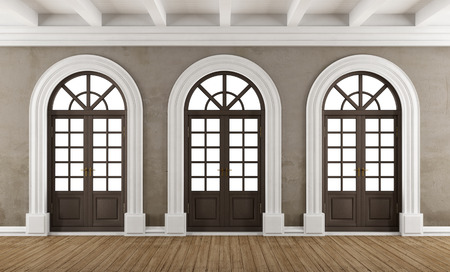 Classic interior with  three wooden arch windows - 3D Rendering