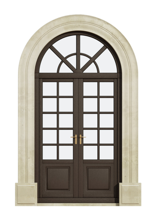 view of a wooden doorway: Wooden balcony arch door isolated on white - 3D Rendering