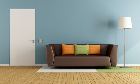 livingroom: Colorful living room with modern couch and closed door - 3D Rendering Stock Photo