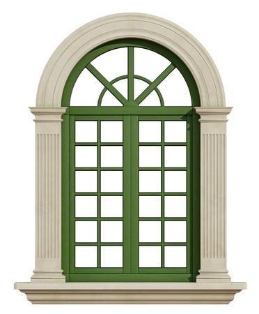 clásico de la ventana con marco de piedra aislado en blanco - 3D Rendering