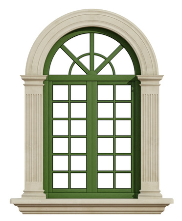 pilaster: Classic window with stone frame isolated on white - 3D Rendering
