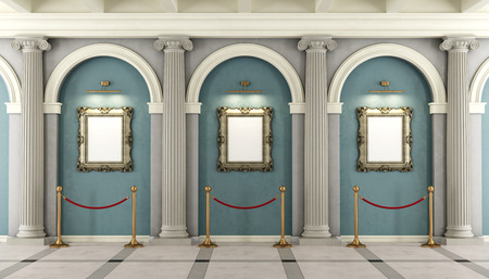 Classic museum with with colonnade and golden frame on wall - 3D rendering 스톡 콘텐츠
