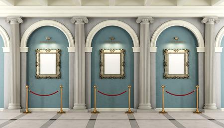 Musée classique avec avec colonnade et cadre d'or sur le mur - rendu 3D Banque d'images - 49213940