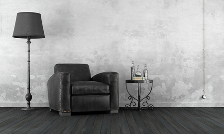 hardwood: Black and white vintage living room with leather armchair and wrought iron coffee table - 3D Rendering