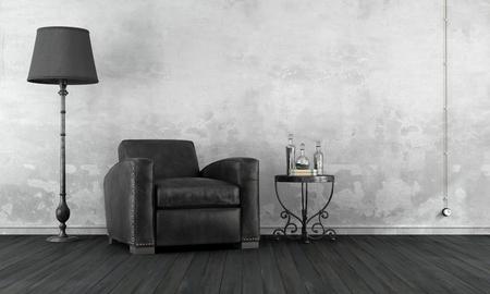 Zwart-witte vintage woonkamer met lederen fauteuil en smeedijzeren salontafel - 3D Rendering Stockfoto