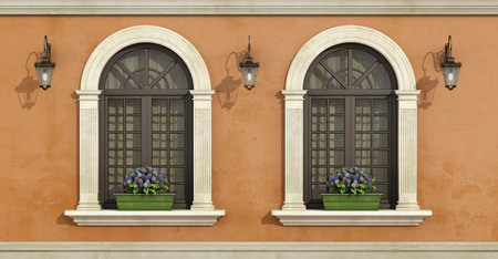pilaster: Detail of a facade with two arched windows with stone frame and flowers on the windowsill-3D Rendering