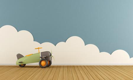 bambini: sala giochi vuoto con l'aeroplano del giocattolo sul pavimento di legno e nuvole - Rendering 3D Archivio Fotografico