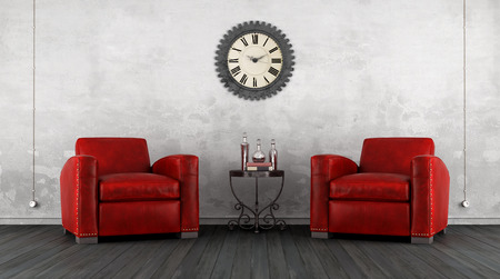 old furniture: Classic living room with two red armchair on white wall - 3D Rendering