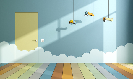 blue wall: Playroom with toy airplanes hanging from the ceiling and clouds on the wall - 3D Rendering